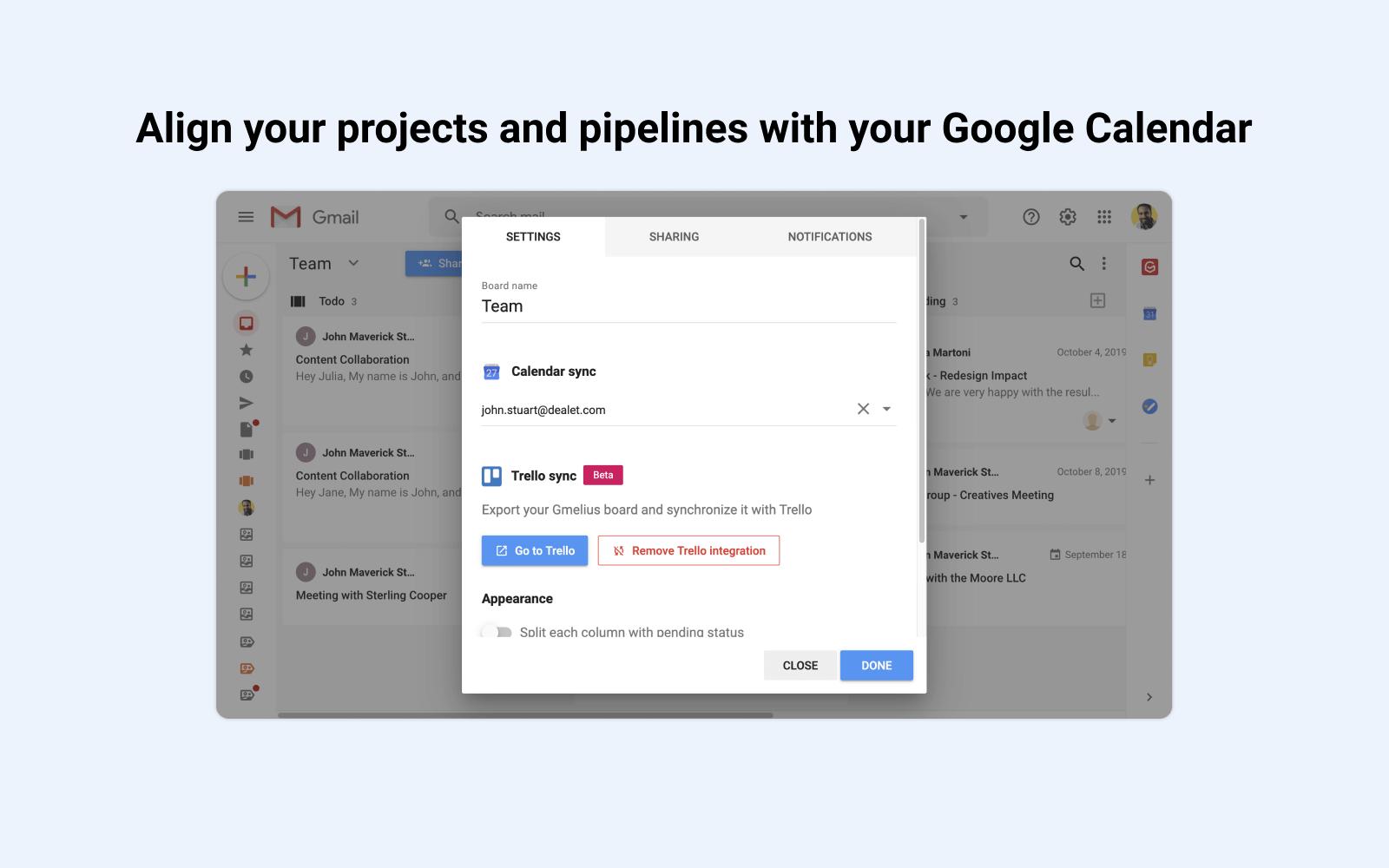 Aligner les projets sur Google Calendar
