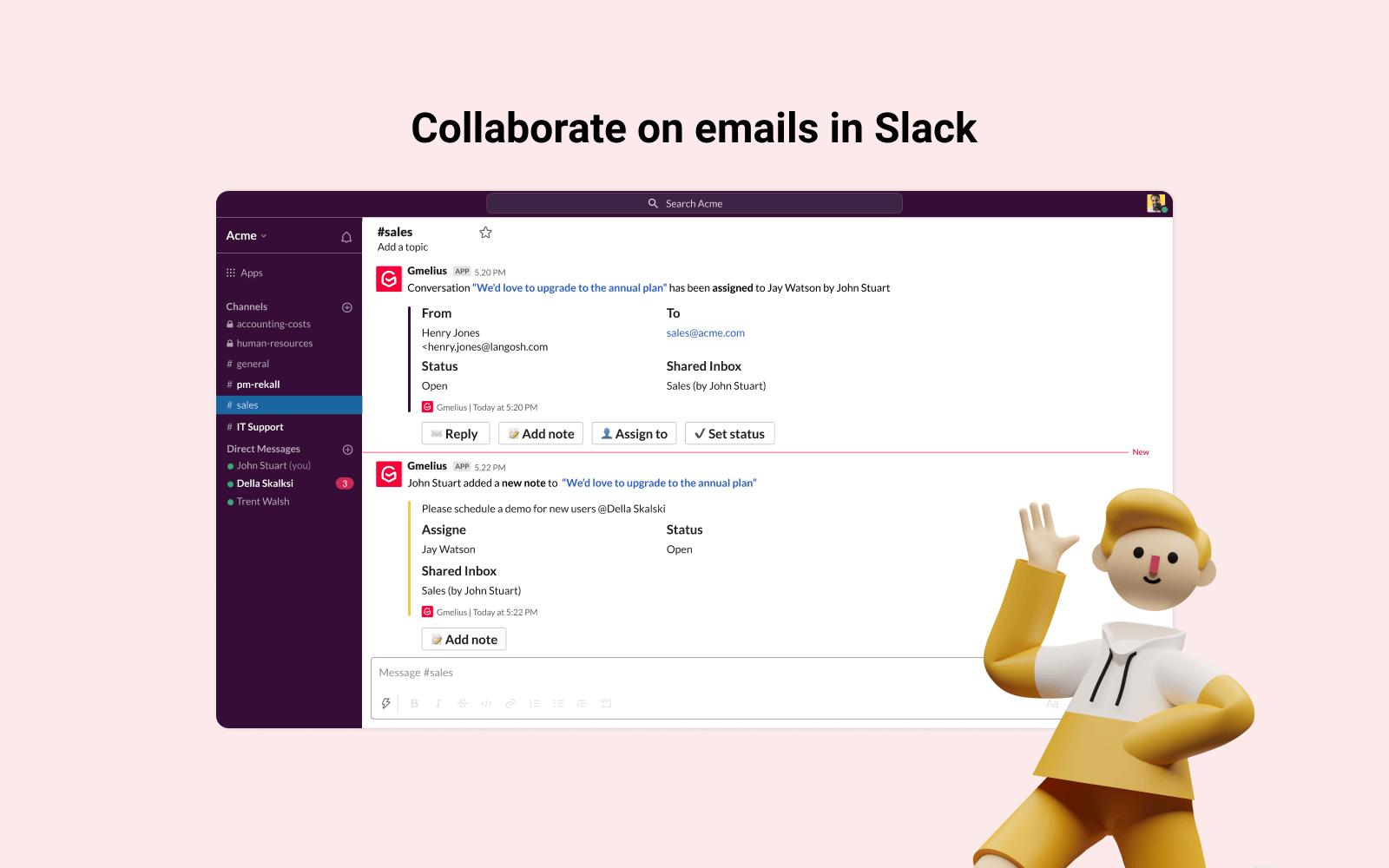 Intégration bidirectionnelle Gmail-Slack