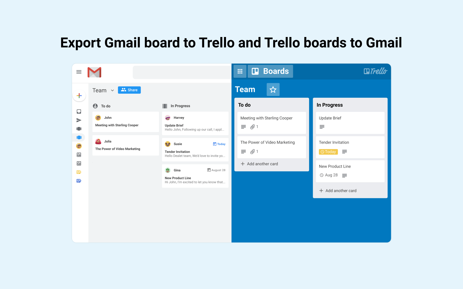 Sync Trello boards with Gmail