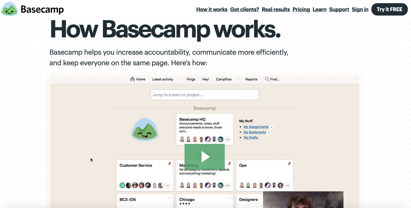Team collaboration tools: Basecamp