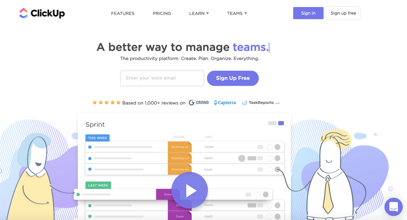 Team collaboration tools: ClickUp