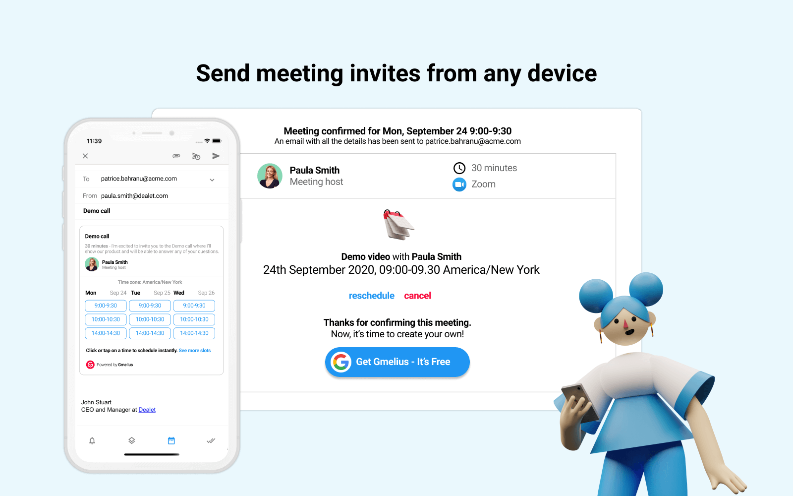 Send meeting invites from any device
