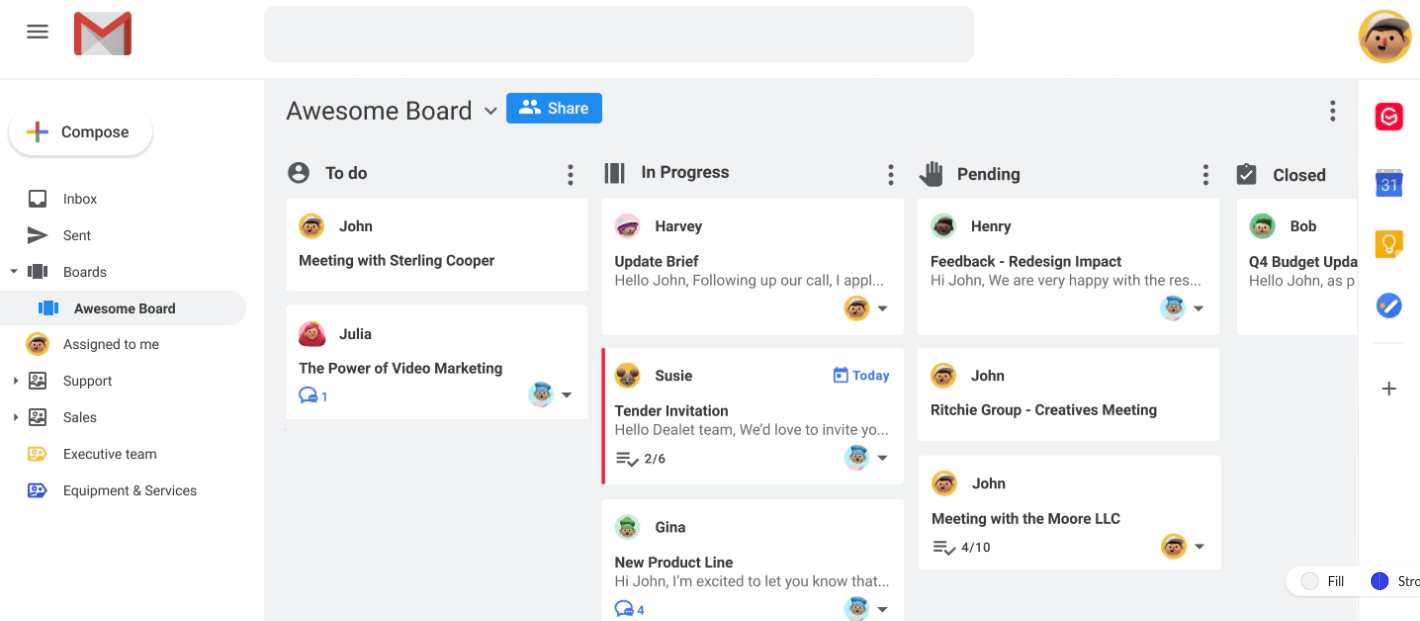 Boards Gmail