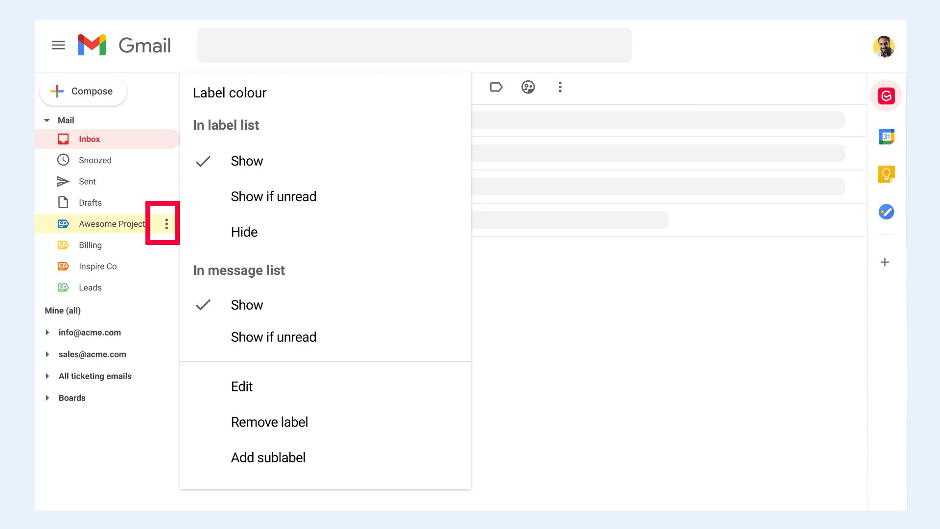 Edit label in Gmail
