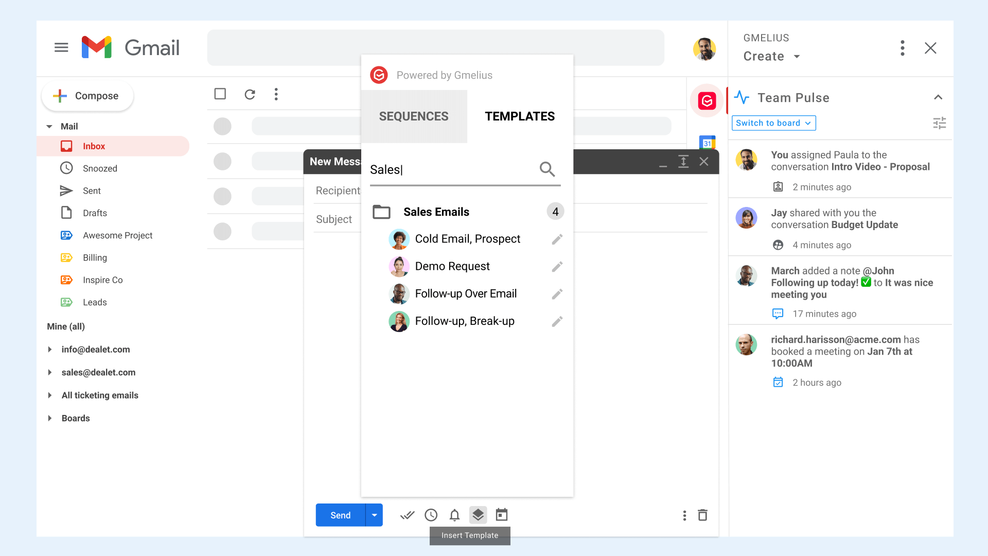 Template Sales in Gmail