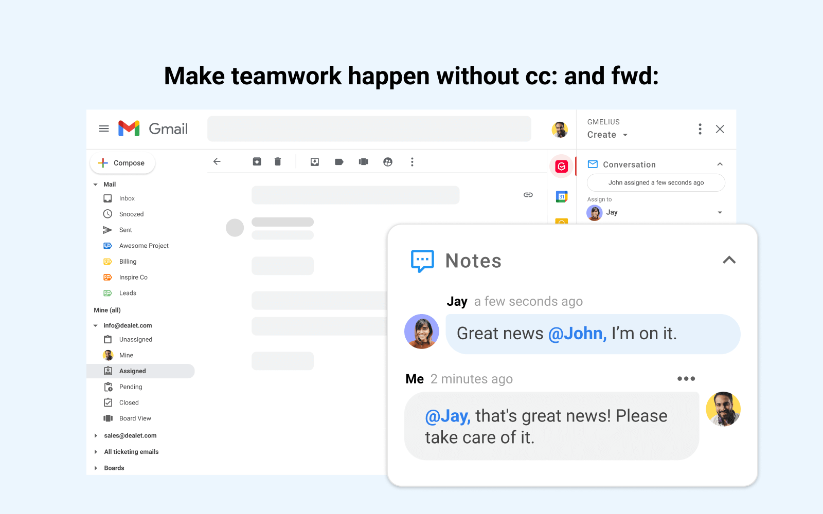 Make teamwork happen without cc: and fwd: