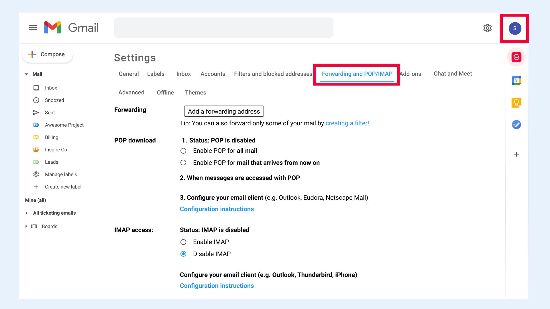 Gmail settings Forwarding and POP/IMAP