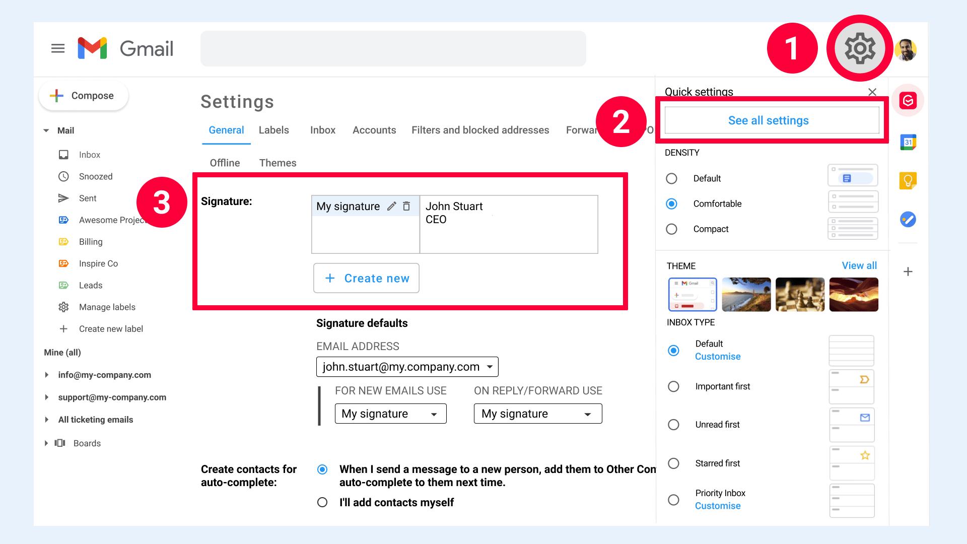 Gmail settings signature