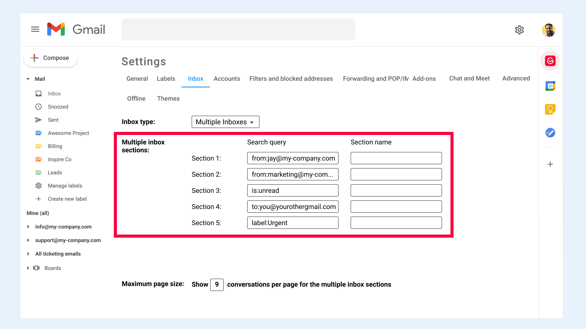 Gmail settings Inbox Search query