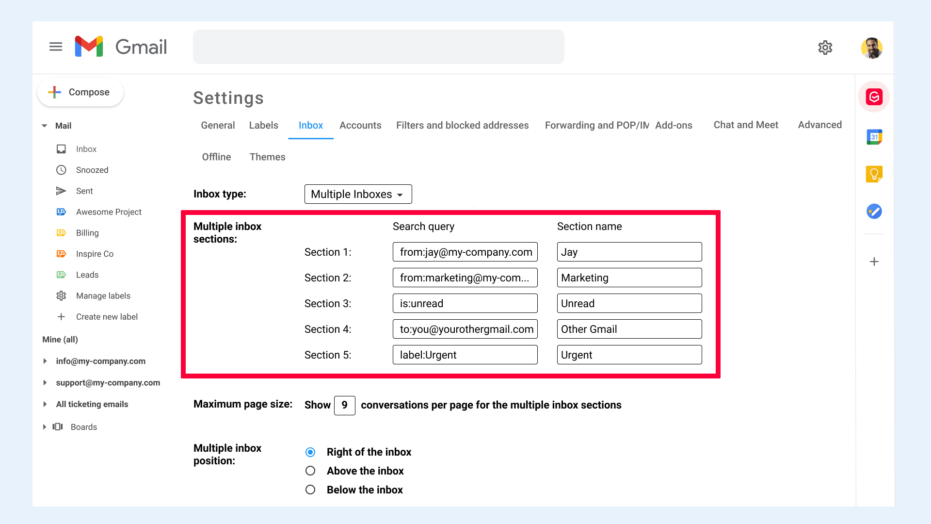 Gmail settings Inbox Section name