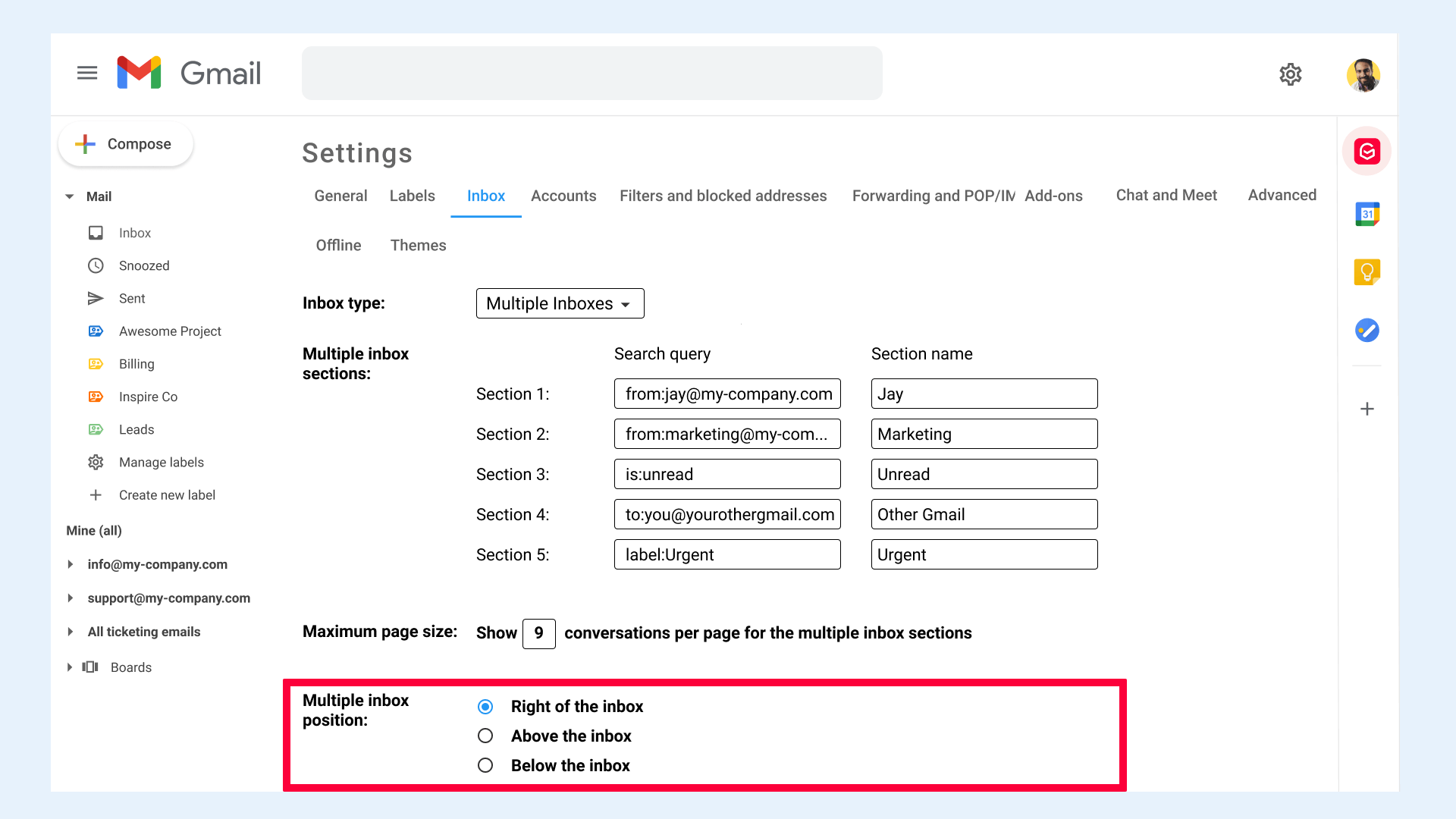Gmail settings Inbox Multiple Inbox position