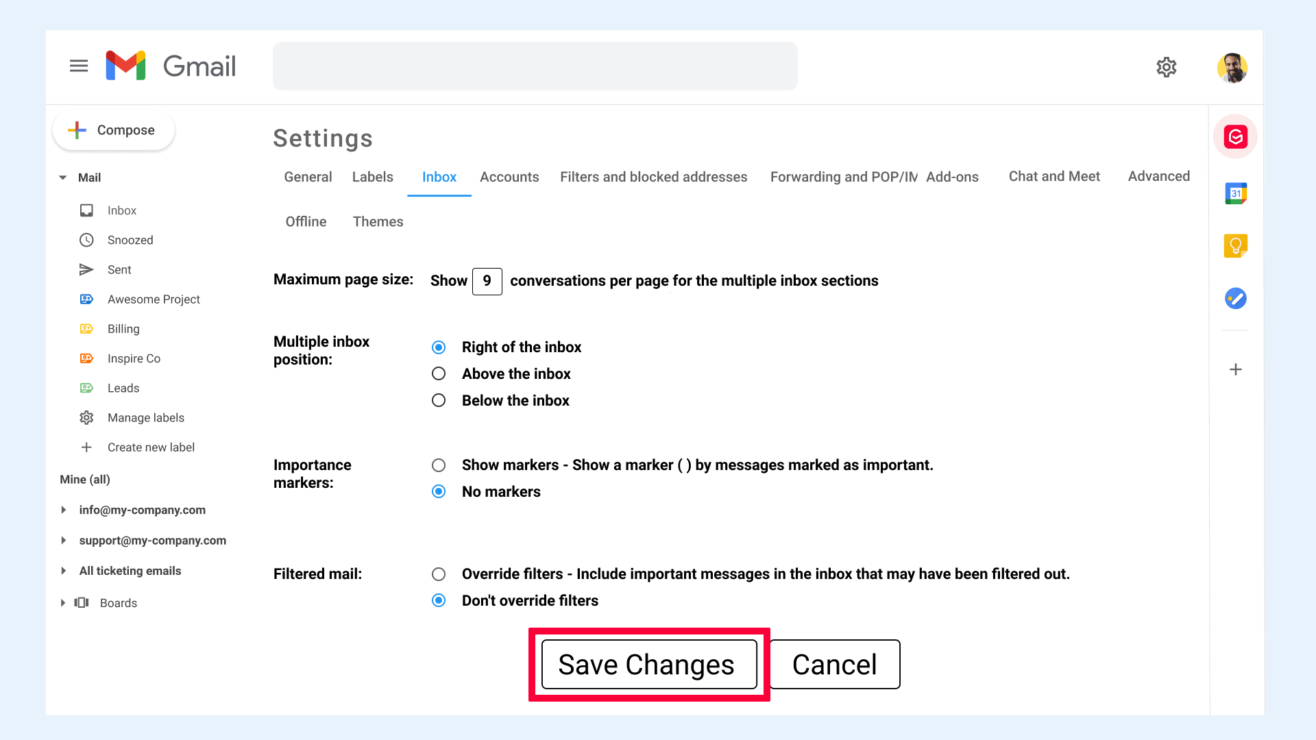 Gmail settings Inbox Save changes
