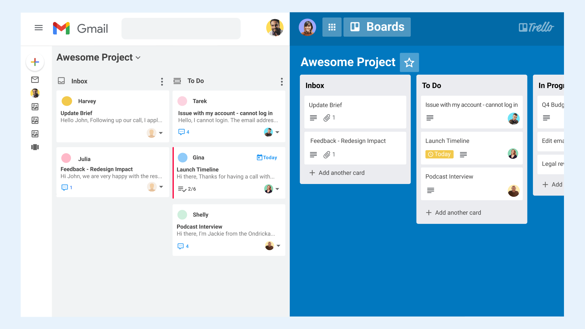 Cross-functional teams collaboration stack Gmail-Trello integration