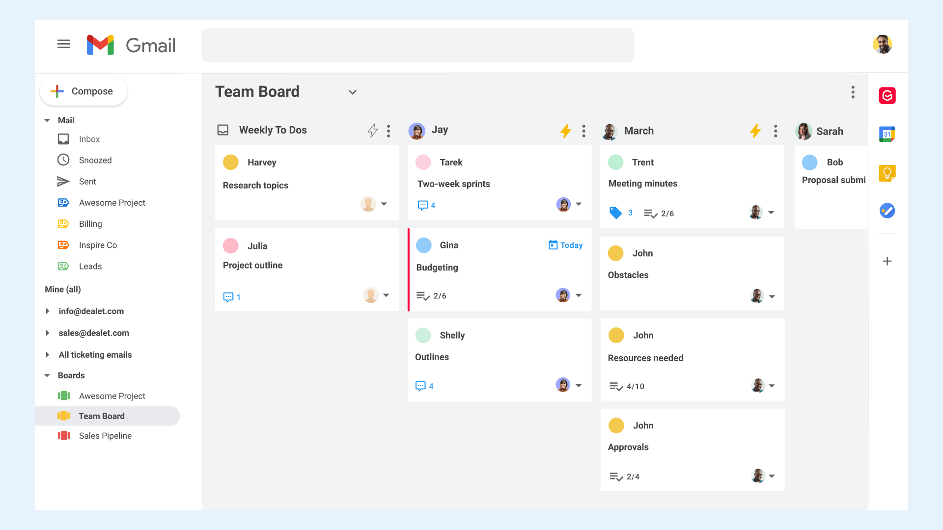 Shared boards in Gmail