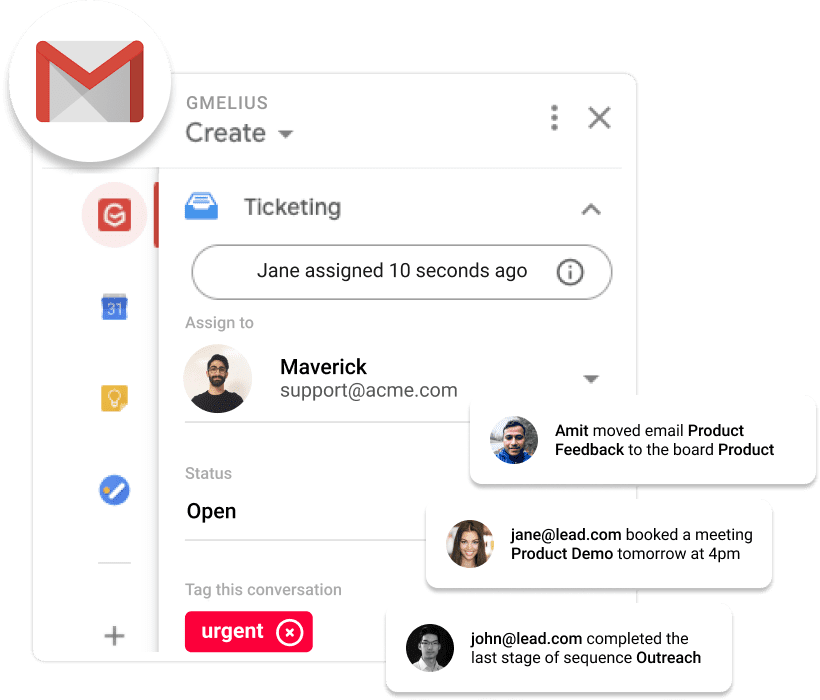 Gmelius extension for Gmail