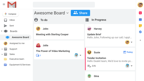 Kanban boards in Gmail