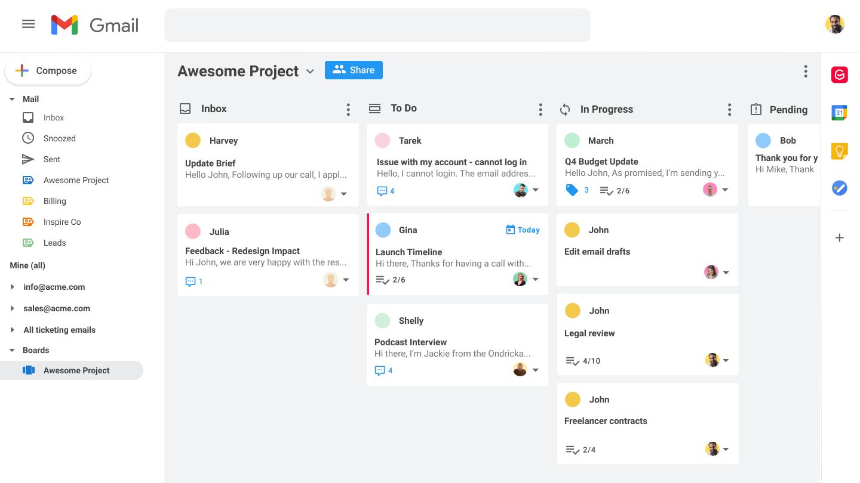 Kanban pour Gmail
