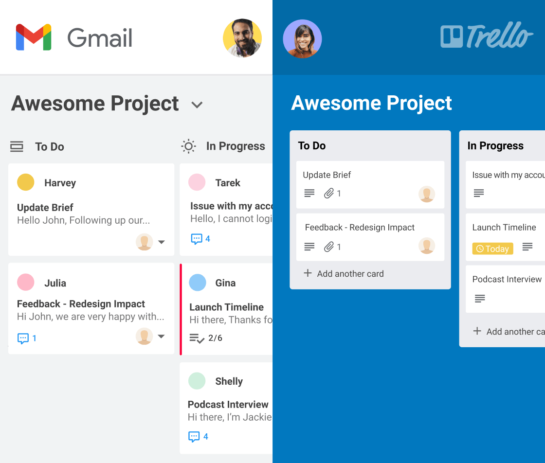Kanban boards in Gmail integrated 2-way with Trello