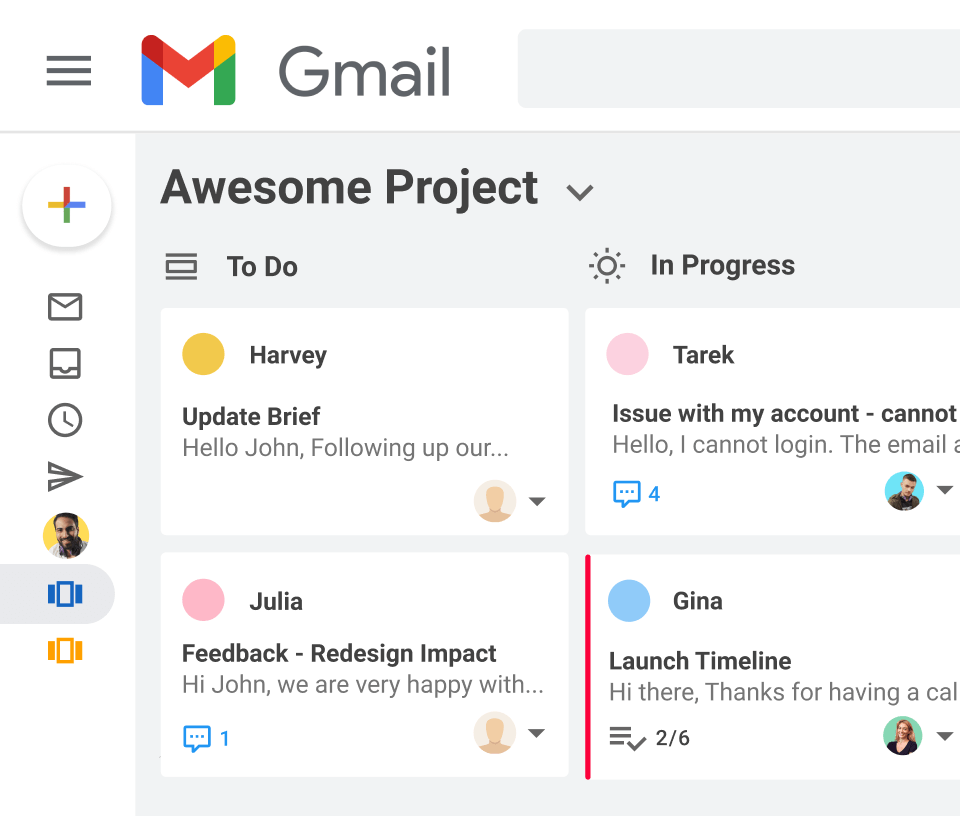 Manage project from Gmail with Gmelius