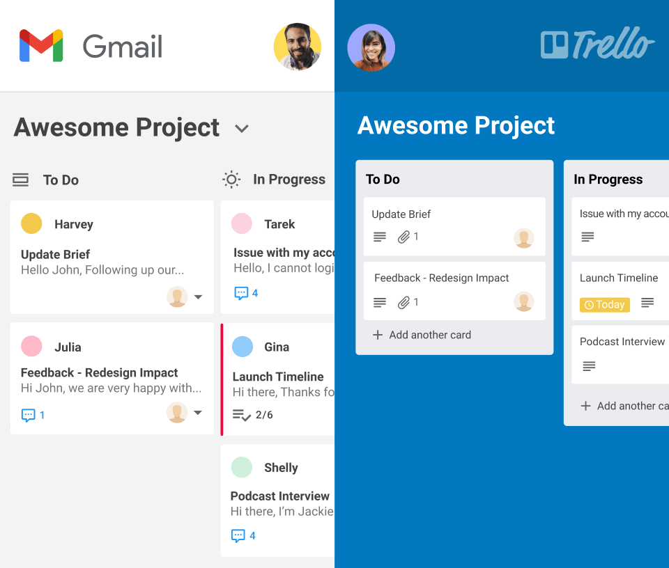 Integrate your Gmelius Kanban boards with Trello