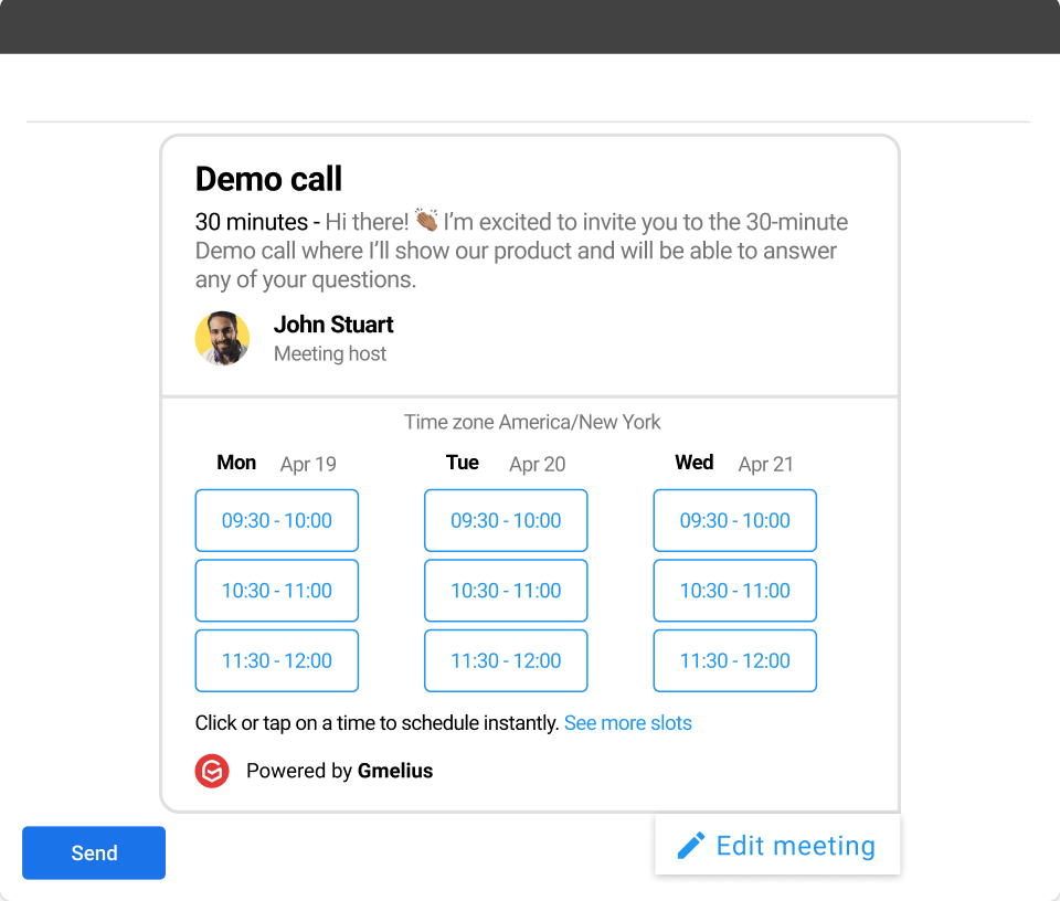 Schedule meetings from Gmail with Gmelius