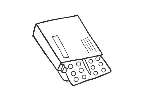 Grafische Propecia Verpackung mit 28 Tabletten.