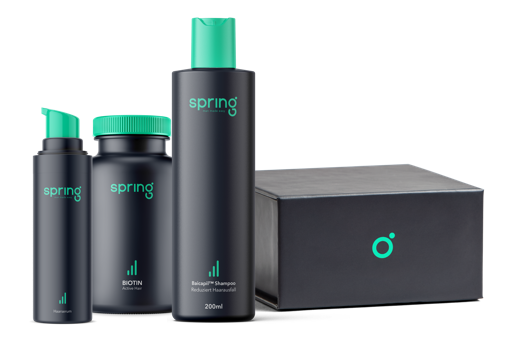 Spring Komplett-Paket, um Haarausfall zu stoppen. Inhalt: Biotin-Kapseln, Baicapil, Minoxidil Kur und Finasterid.