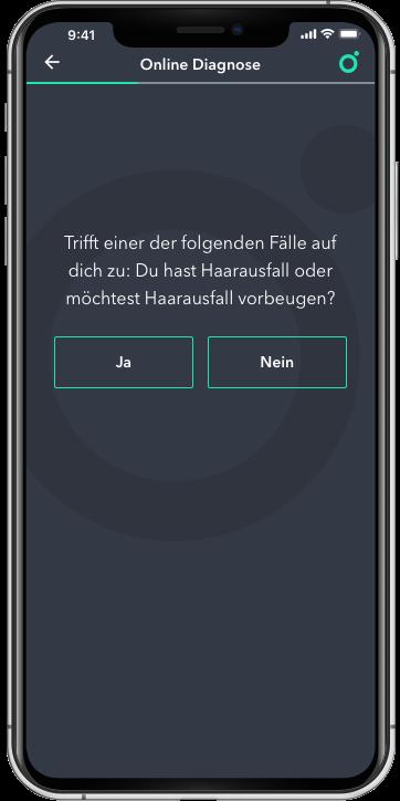 Abbildung von einem Handy-Displays, welches beispielhaft die Spring Online Diagnose zeigt.