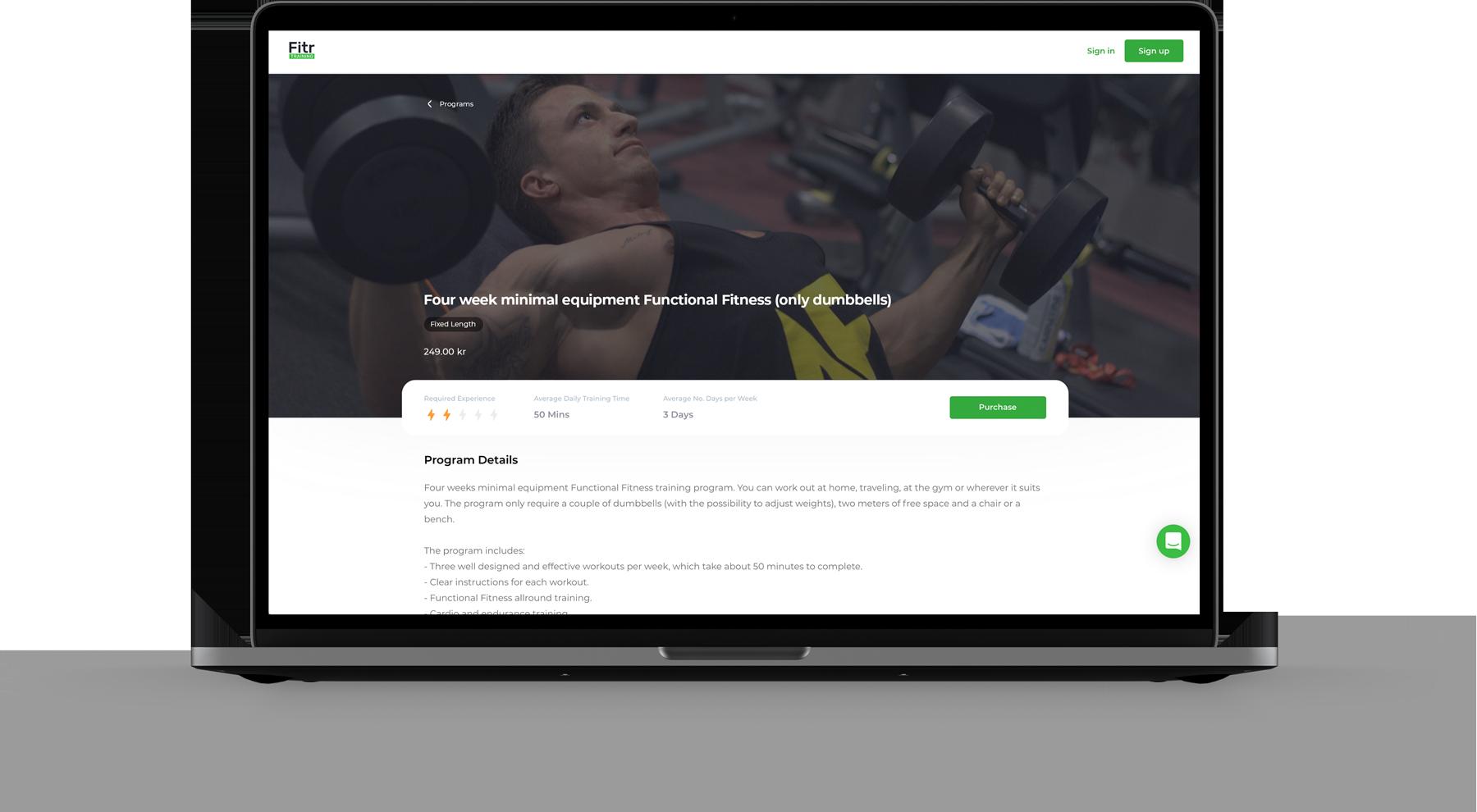 Program information page for online fitness software