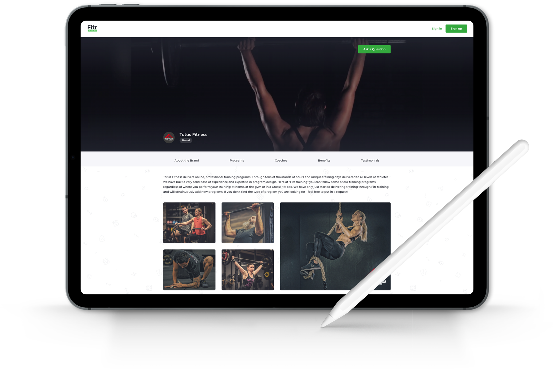 Tablet showing customised website page for a personal trainer or coach looking to sell remote training online
