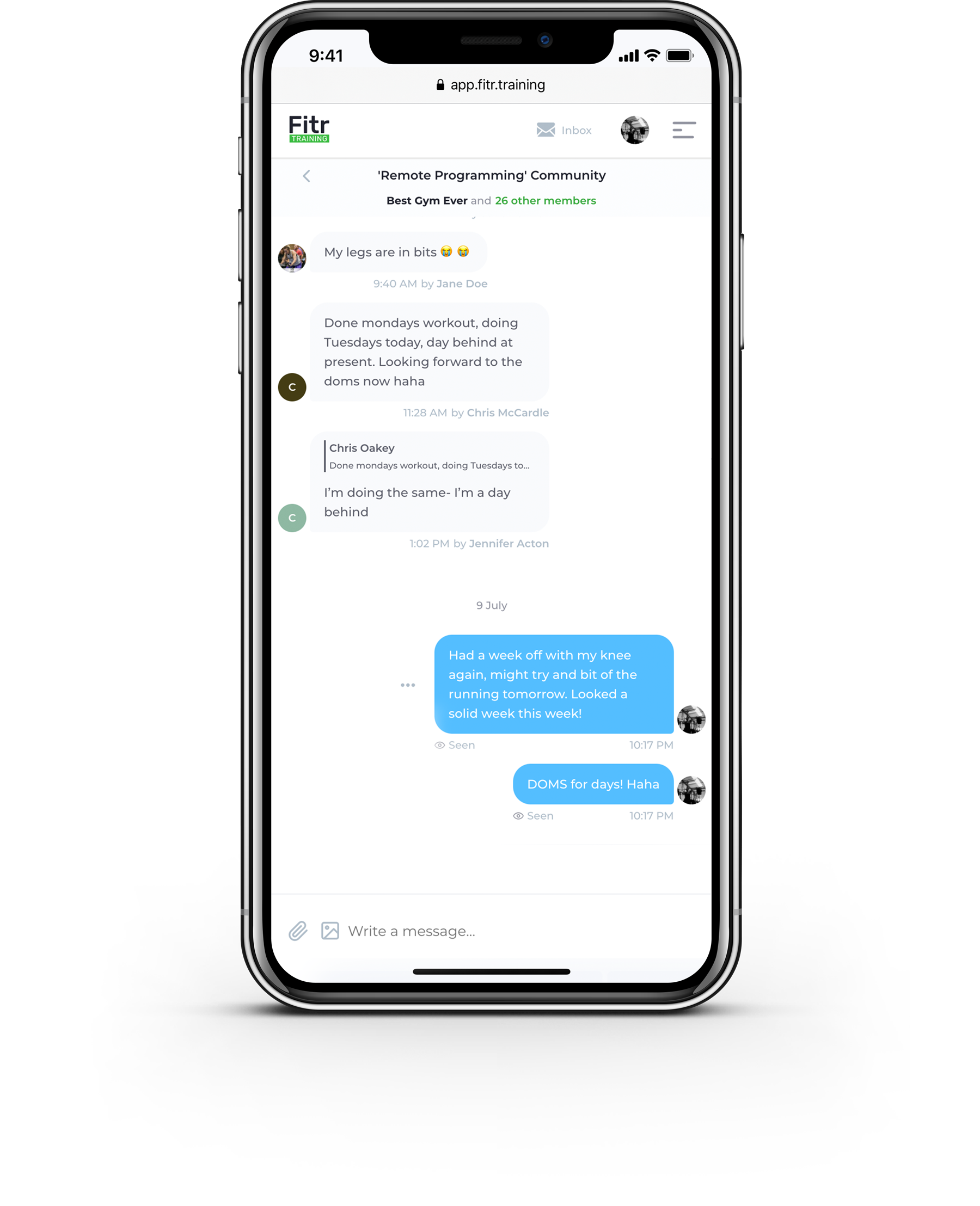 Mobile view of chatting with clients as individuals or groups for online fitness coaching platform