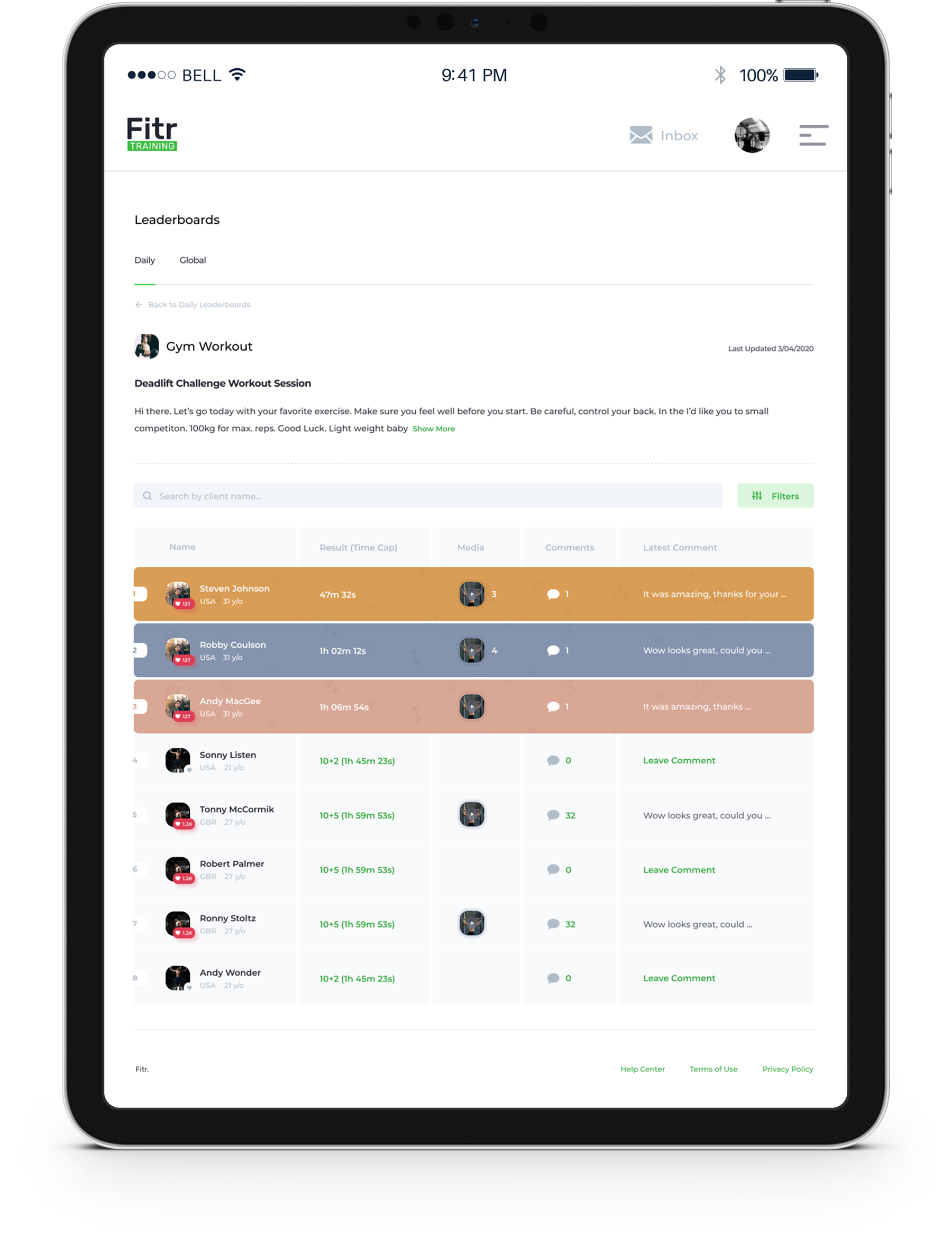 Online personal training software lkeaderboards image for managing clients performance remotely