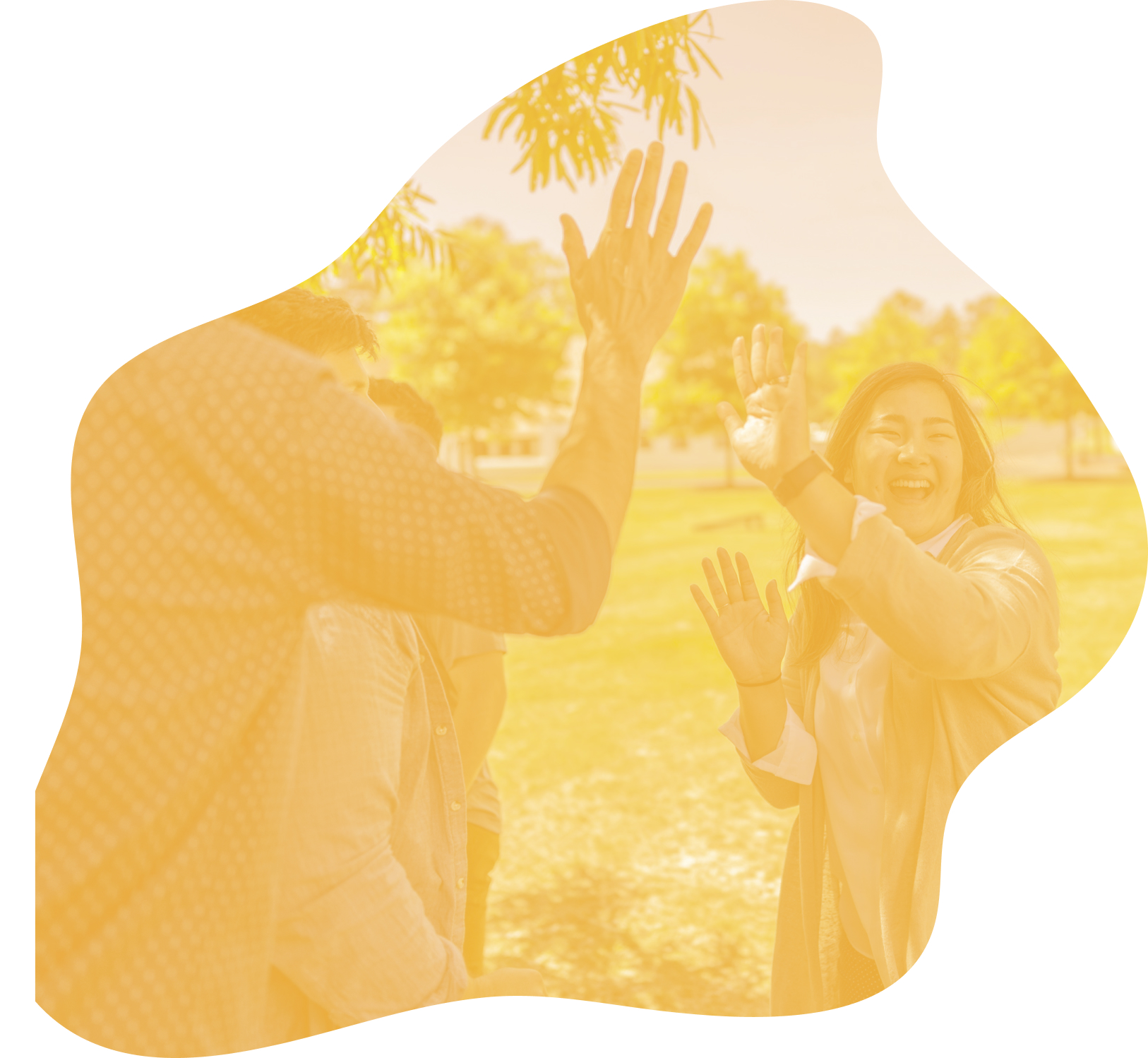 A group of people celebrate with high fives. A yellow overlay has been applied to the image.