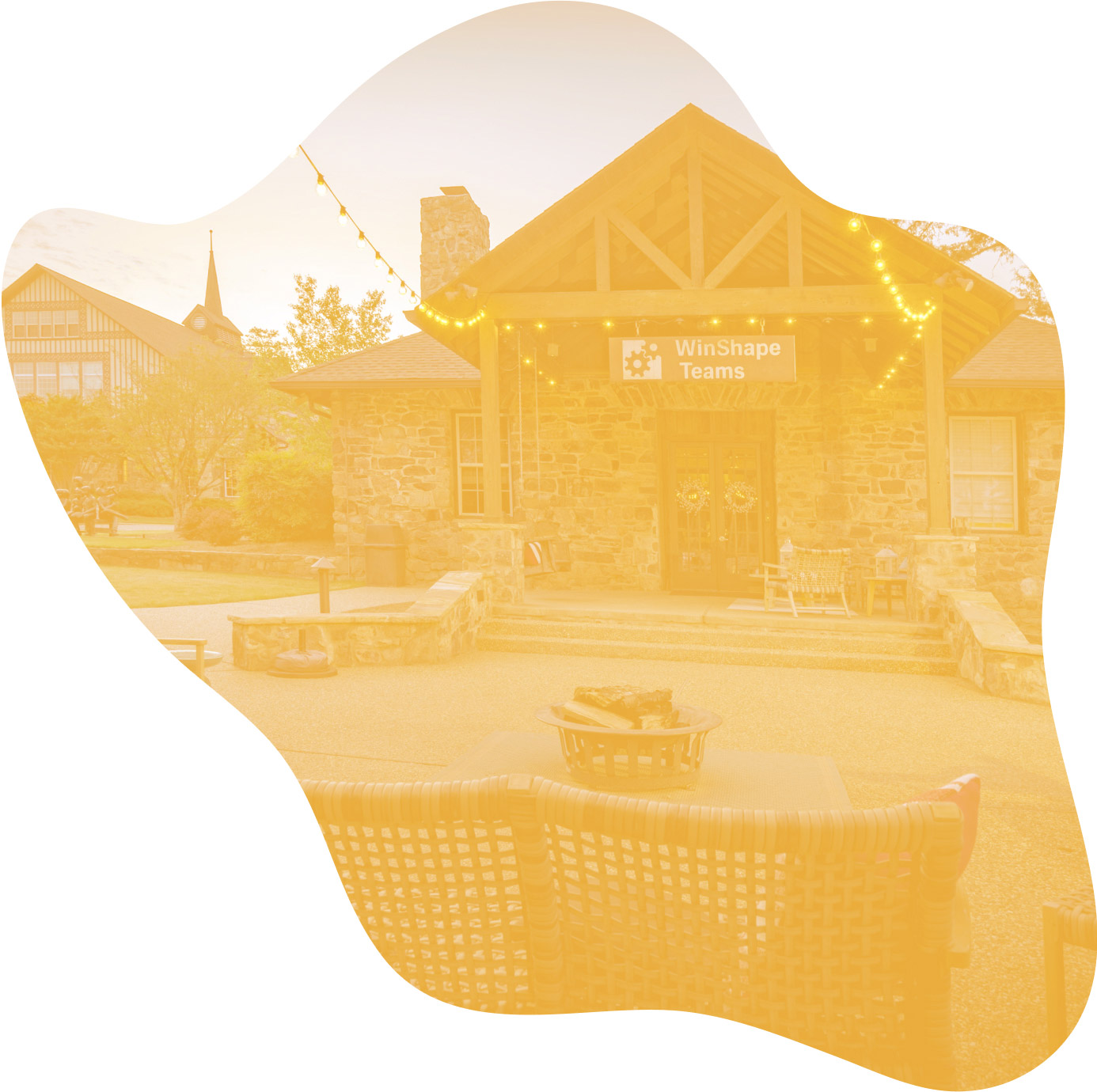 Exterior shot of the Winshape Teams headquarters. A yellow overlay has been applied to the image.