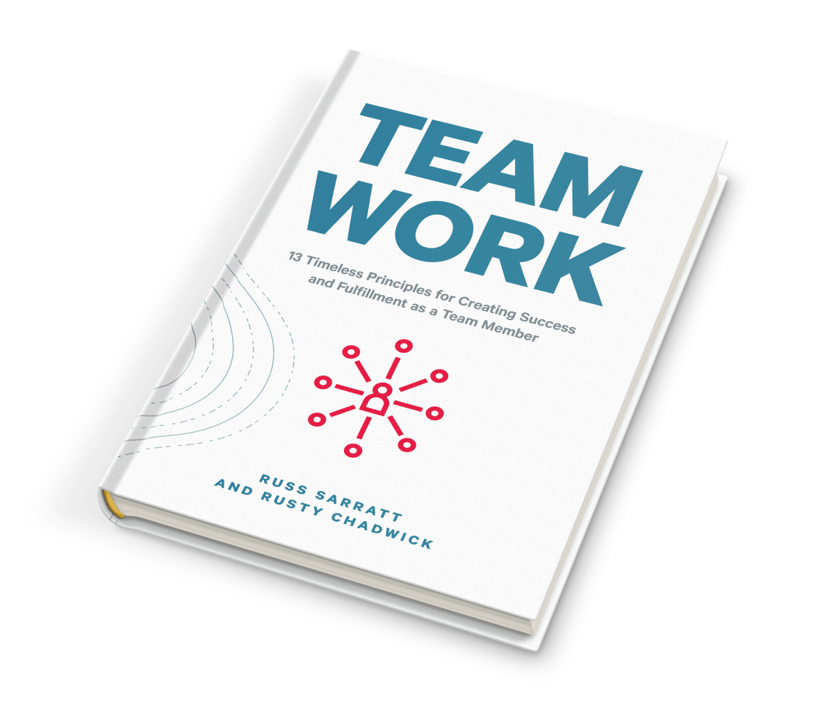 "Mockup of the ""Team Work"" hard cover book."