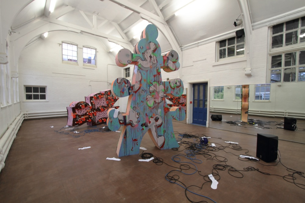 Edwin Burdis, Multiple points in this crude landscape, 2014. Installation view. Courtesy of PRIMARY, Nottingham, UK.