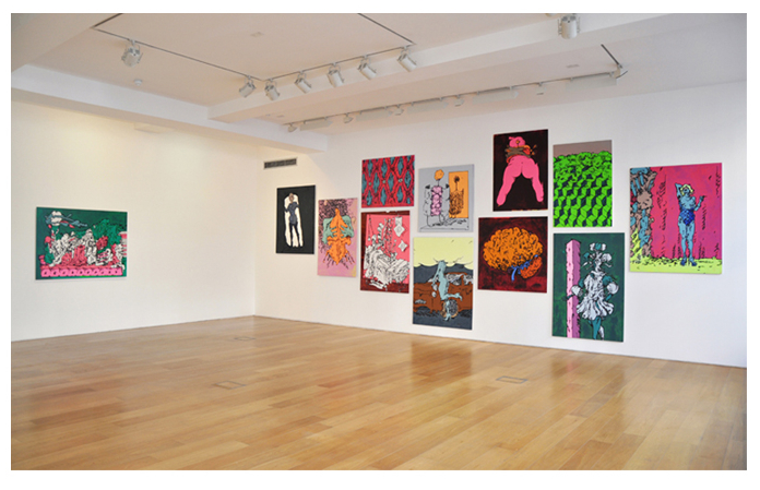 Edwin Burdis, Mega Dairy Pig Farm, 2012. Installation view. Courtesy of Max Wigram Gallery, London, UK.