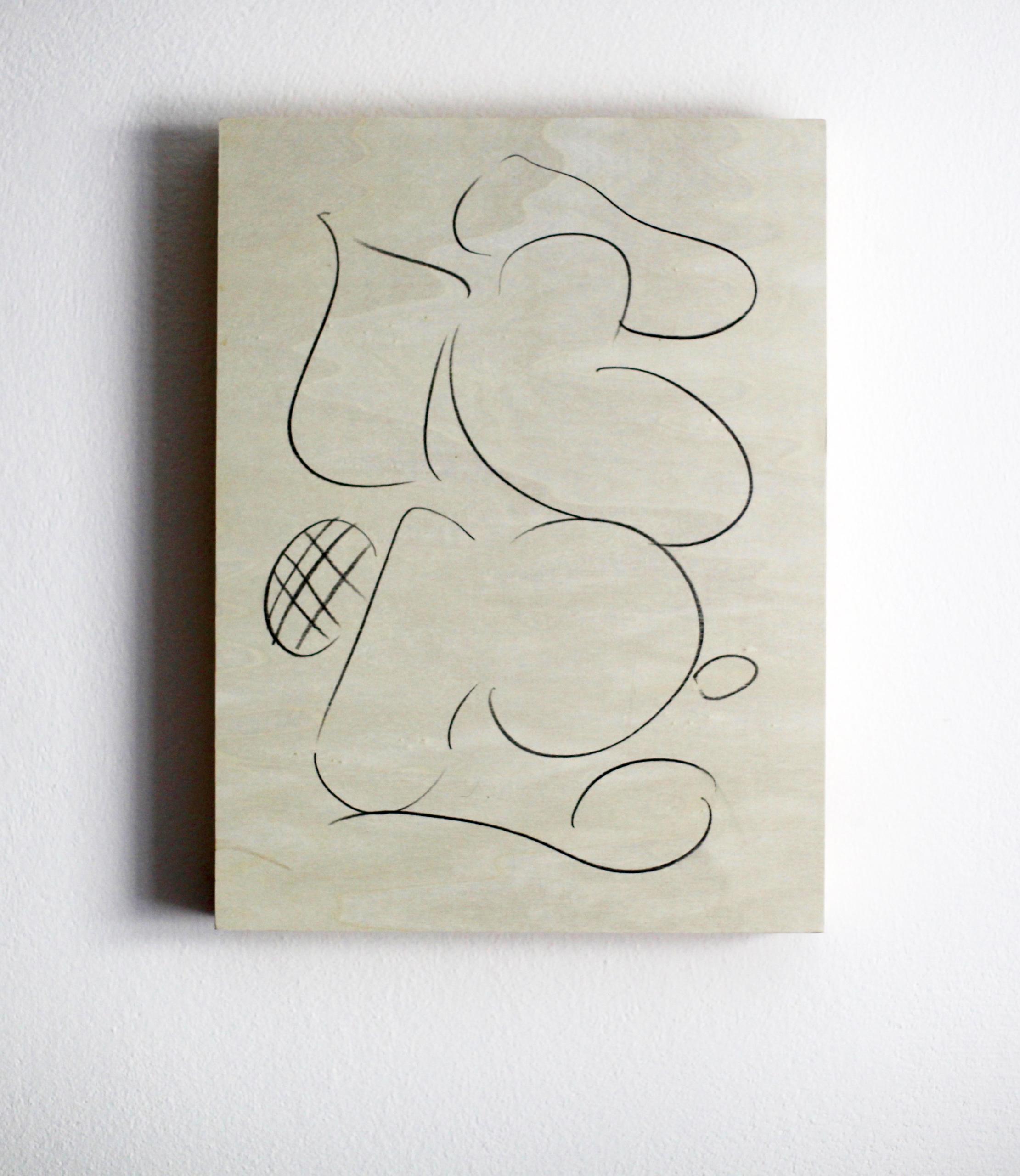 Edwin Burdis, L'Breast Raw, 2017. Pencil on plywood. 30.5 x 40.6 x 5.2 cm.