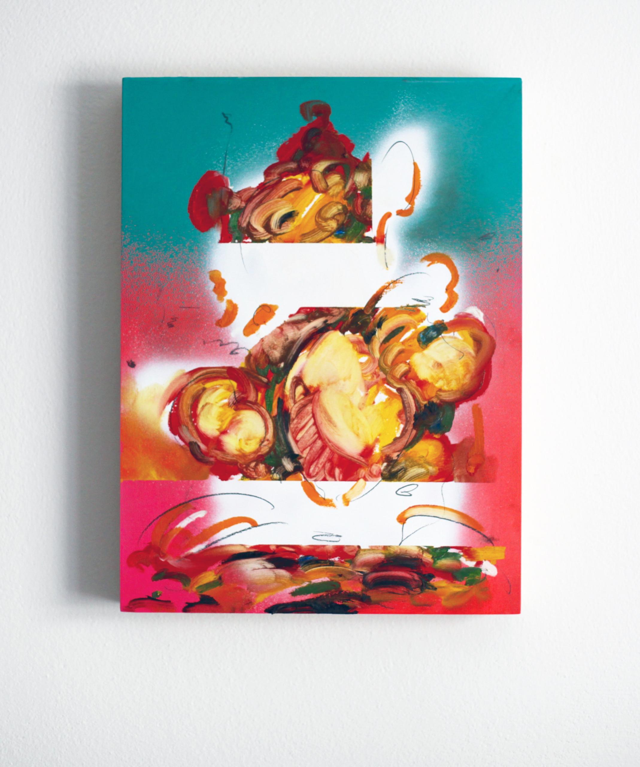 Edwin Burdis, L'Breast 1, 2017. Oil, acrylic spray paint and pencil on plywood with audio (00:02:00). 30.5 x 40.5 x 5 cm.