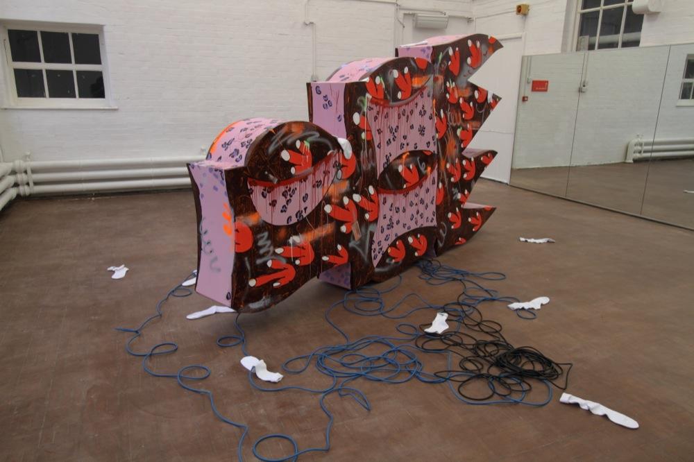 Edwin Burdis, UIB, 2014. Plywood, collage, gloss, sports socks, acrylic paint, sound system.