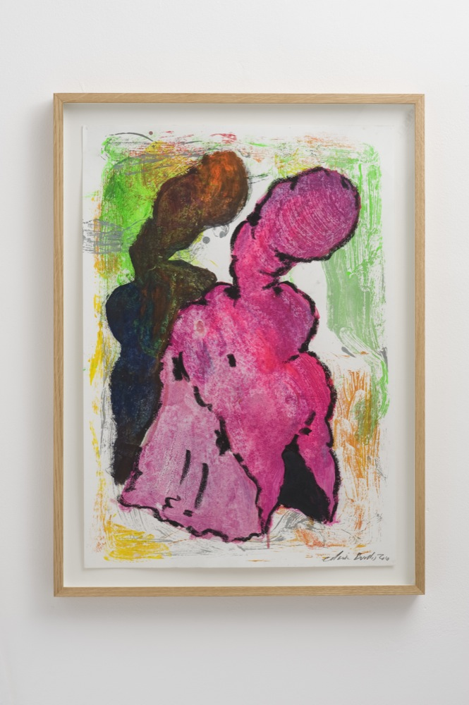 Edwin Burdis, Back, Sack and Crack No. 32, 2009. Wax crayons, poster paints on paper. Framed. 42 x 59 cm.