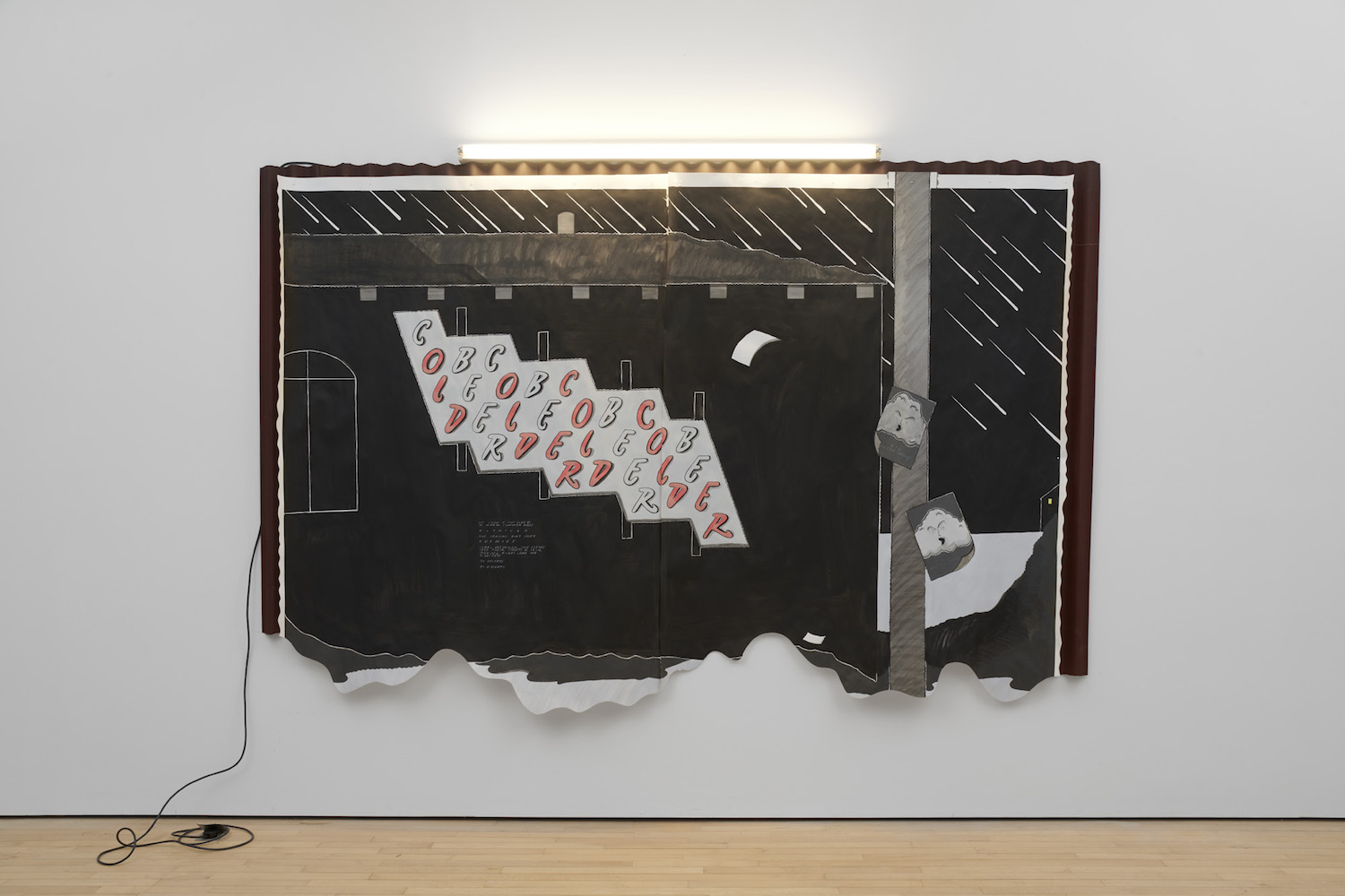 Charlie Godet Thomas, Old Older Cold Colder, 2019. Paint on Fabriano paper, map pins, corrugated bitumin, tape, fluorescent light fittings, fluorescent bulbs, cable flex, lighting gel, mains plugs. 340 x 220 x 5 cm.