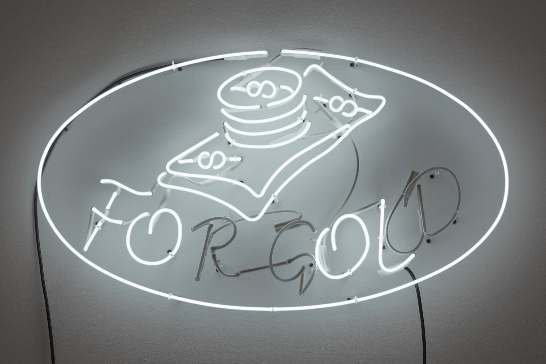 Charlie Godet Thomas, Fool's Gold, 2019. Neon, cable, transformer, mains plug. 50 x 90 x 4 cm.