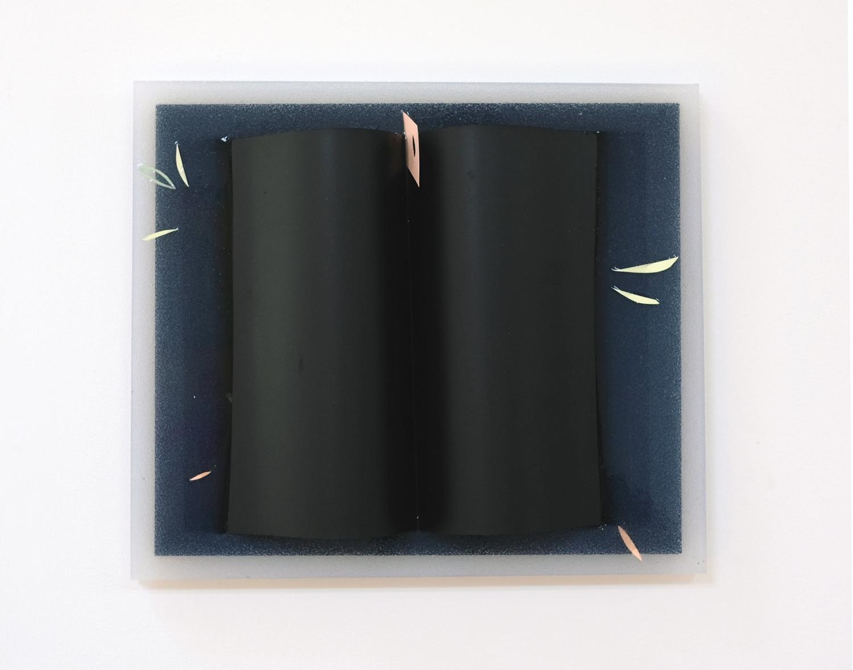 Charlie Godet Thomas, Marginalia (Artificial Bones), 2018. Wood, acrylic paint, arches watercolour paper, aerosol paint, card and paper offcuts. 27 x 32 x 11 cm.