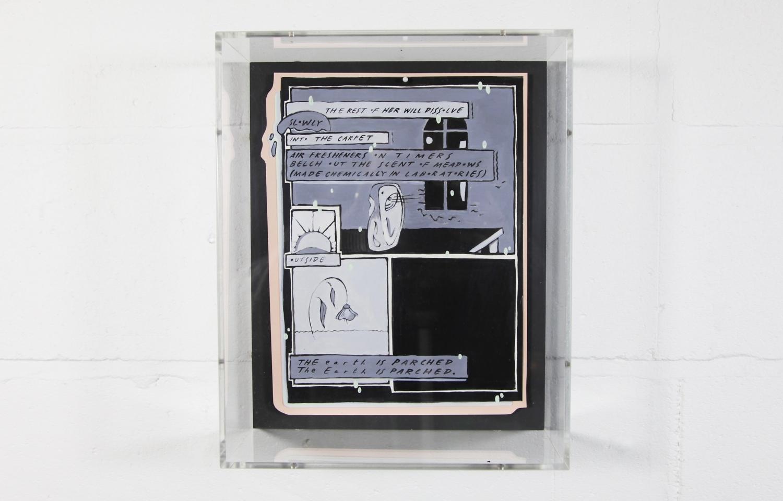 Charlie Godet Thomas, Illuminated Manuscript (Elegy for Joyce Vincent), 2018. Acrylic on arches watercolour paper, pins, wood, acylic box frame. 29 x 36 x 11.7 cm.