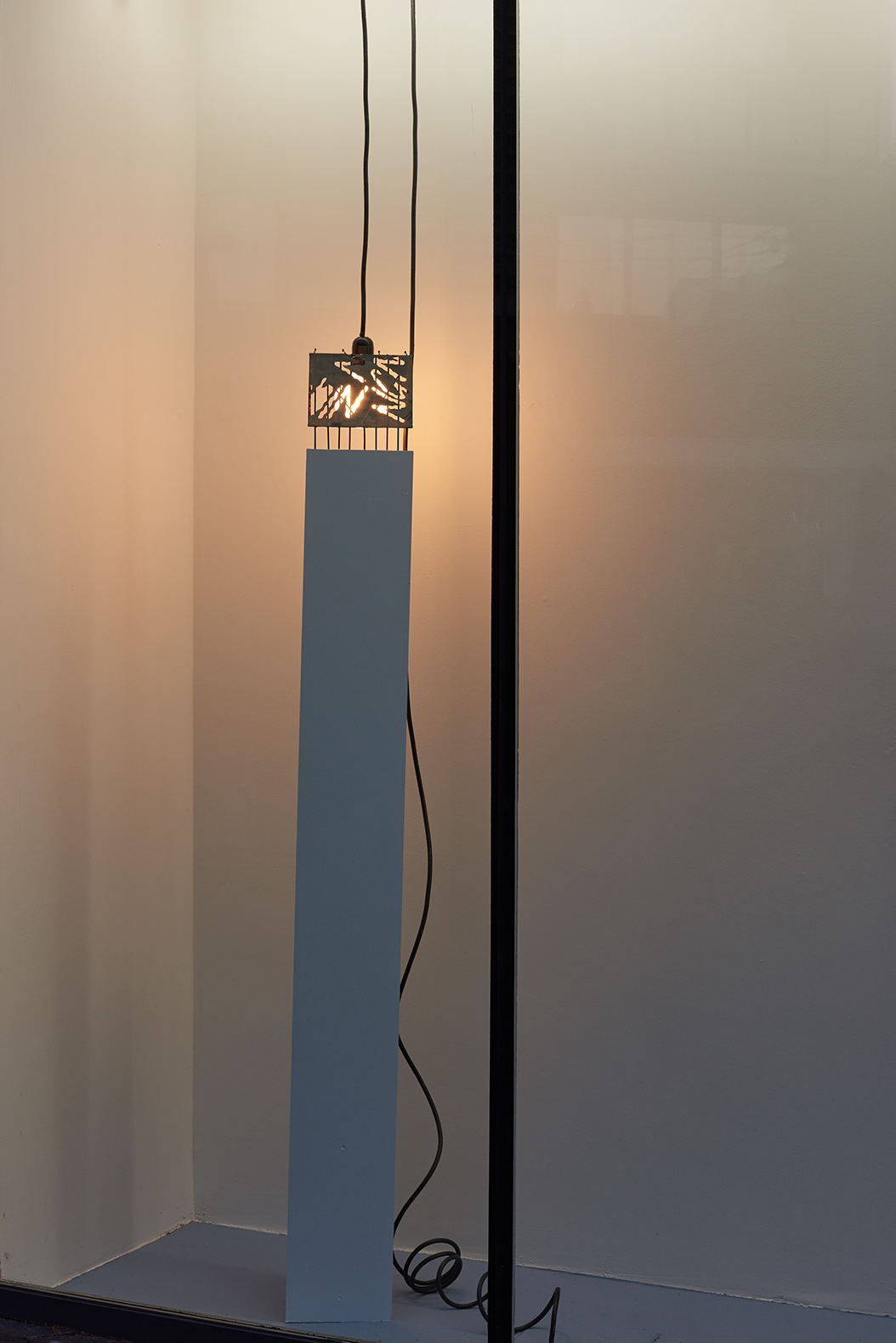 Charlie Godet Thomas, Night Song, Morning Song, 2019. Acrylic and pencil on paper, cut painted paper fragment, wood, plastic, light fitting. 164 x 20 x 18 cm.
