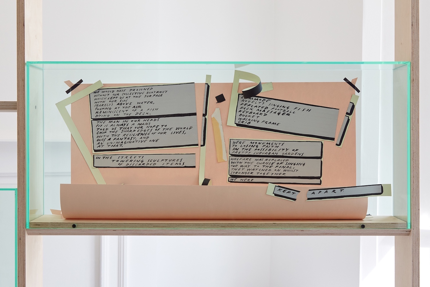 Charlie Godet Thomas, Songs of Experience (detail), 2018. Paper, double sided acid free tape, acrylic paint, arches watercolour paper, acrylic, birch plywood. 244 x 160 x 12 cm.