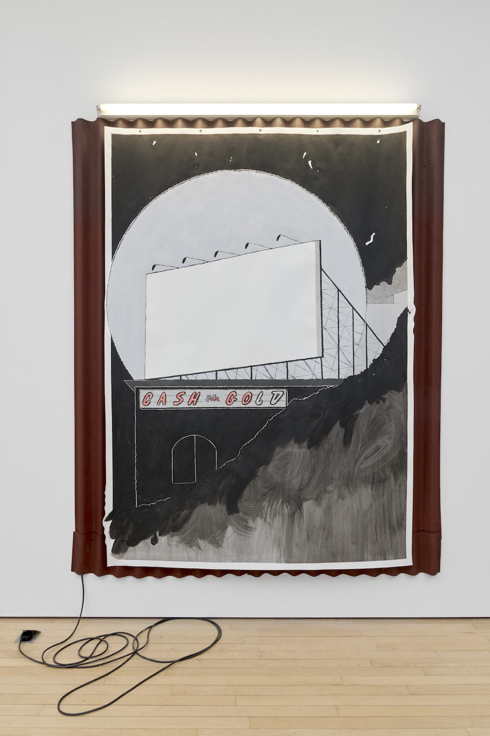 Charlie Godet Thomas, Cash or Go, 2019. Paint on Fabriano paper, map pins, corrugated bitumin, tape, fluorescent light fittings, fluorescent bulbs, cable flex, lighting gel, mains plugs. 170 x 220 x 5 cm.