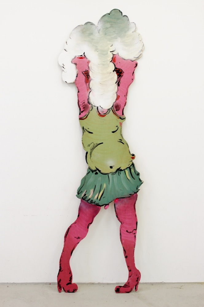 Edwin Burdis, Chaka Baggins (A Professional Plumber), 2014. Acrylic, gloss paint, mixed media on plywood. 55 x 194 x 3 cm.
