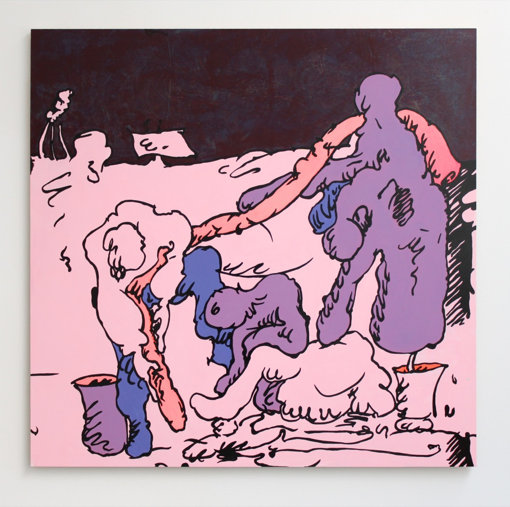 Edwin Burdis, Digging For Some King Sized Value, 2012. Acrylic, gloss, MDF. 122 x 125 cm.
